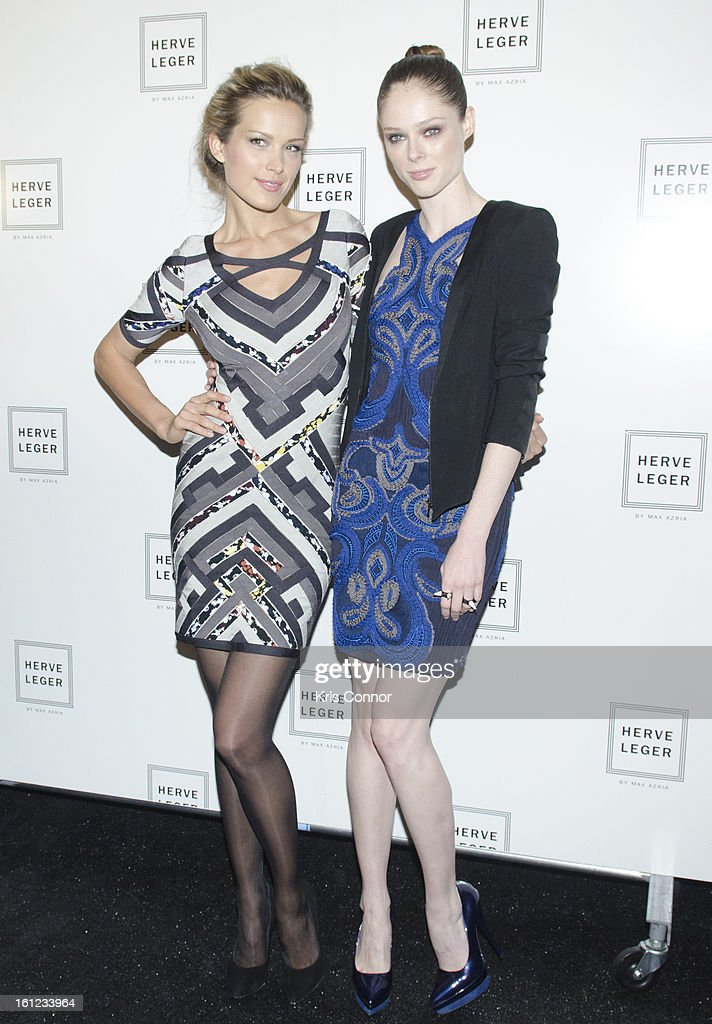 Petra Nemcova and Coco Rocha poses backstage during the Herve Leger By Max Azria Fall 2013 show during Mercedes-Benz Fashion Weekat The Theater at Lincoln Center on February 9, 2013 in New York City.