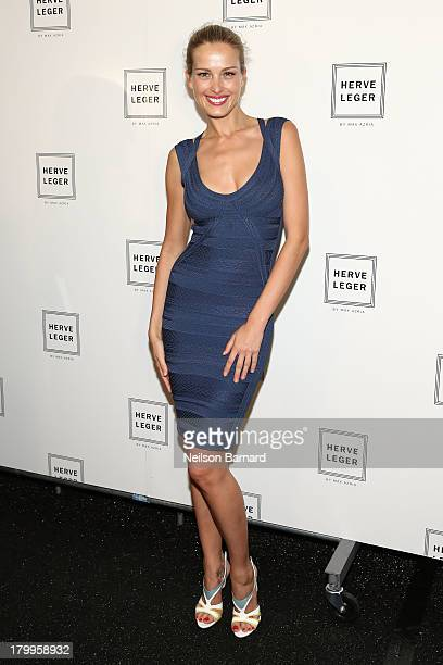Petra Nemcova poses backstage at the Herve Leger By Max Azria fashion show during MercedesBenz Fashion Week Spring 2014 at The Theatre at Lincoln...