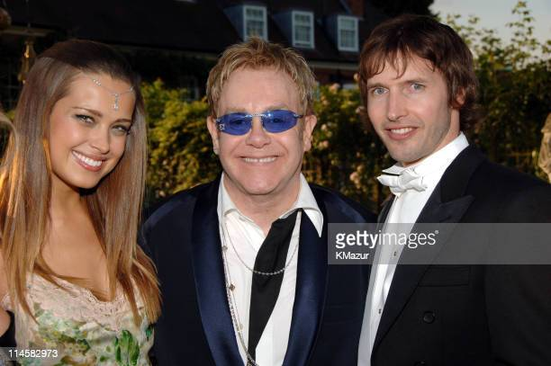Petra Nemcova Sir Elton John and James Blunt during The 8th Annual White Tie and Tiara Ball to Benefit the Elton John AIDS Foundation in Association...