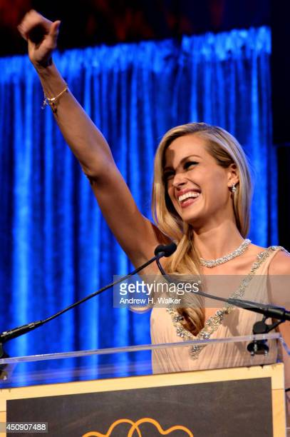 Petra Nemcova speaks onstage at the Happy Hearts Fund Gala with Chopard 10 year anniversary of the Indian Ocean tsunami tribute at Cipriani 42nd...