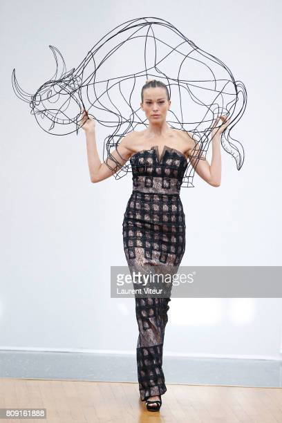 Petra Nemcova walks the runway during the Gyunel Haute Couture Fall/Winter 20172018 show as part of Haute Couture Paris Fashion Week on July 5 2017...