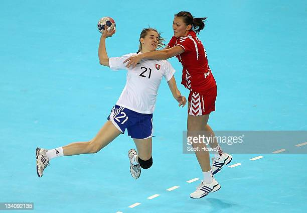 Petra Popluharova of Slovakia shoots at goal during Day Three of the London Handball Cup during the LOCOG Test Event for London 2012 at Handball...