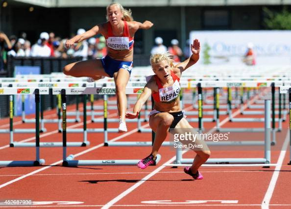 Petra Répási of Hungary falls as she nears the finish line in a preliminary heat of the women's 100m hurdles during day four of the IAAF World Junior...