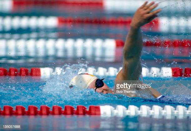 Petra Schneider of East Germany in action during the European Swimming Championships in Rome circa August 1983