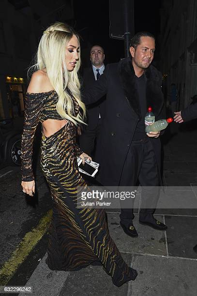 Petra Stunt with Husband James Stunt arrive for James's Birthday Party at Tramp Nightclub on January 20 2017 in London England