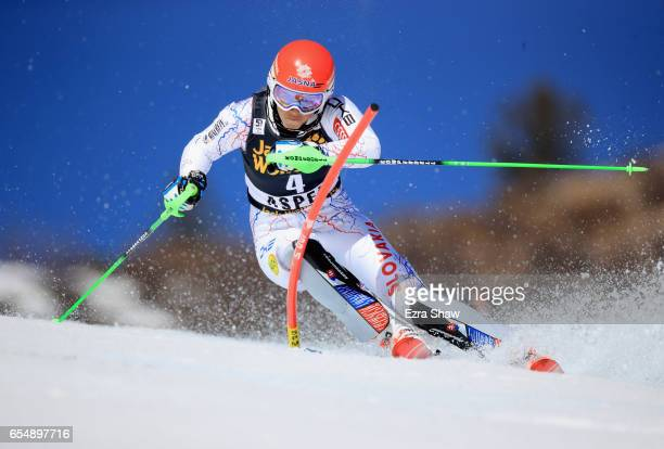 Petra Vlhova of Slovakia skis her first run of the Ladies' Slalom during the 2017 Audi FIS Ski World Cup Finals at Aspen Mountain on March 18 2017 in...