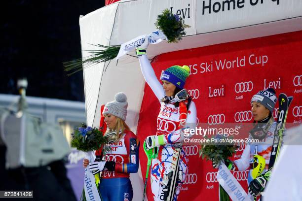 Petra Vlhova of Slovakia takes 1st place Wendy Holdener of Switzerland takes 2nd place Mikaela Shiffrin of USA takes 3rd place during the Audi FIS...