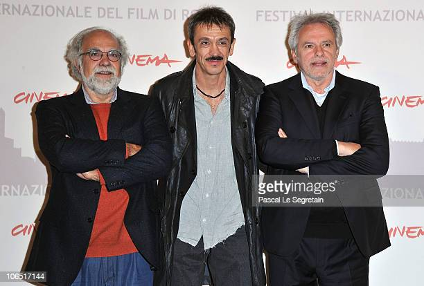 Petraglia Sandro director Gianluca Maria Tavarelli and Stefano Rulli attend the 'Le Cose Che Restano' Photocall during the 5th International Rome...