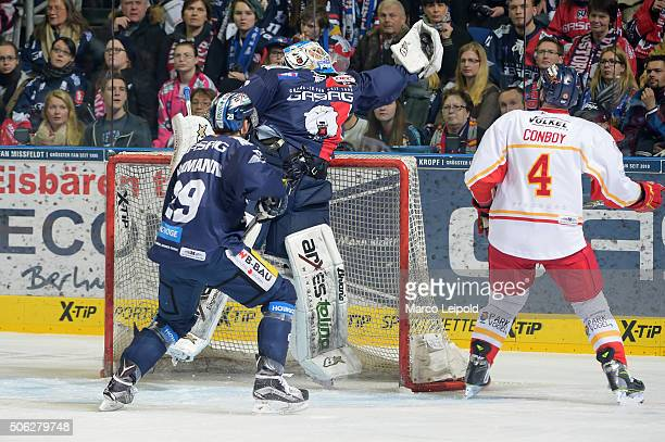 Petri Vehanen of the Eisbaeren Berlin jumps to save goal the puck during the DEL game between the Eisbaeren Berlin and Duesseldorfer EG on January 22...