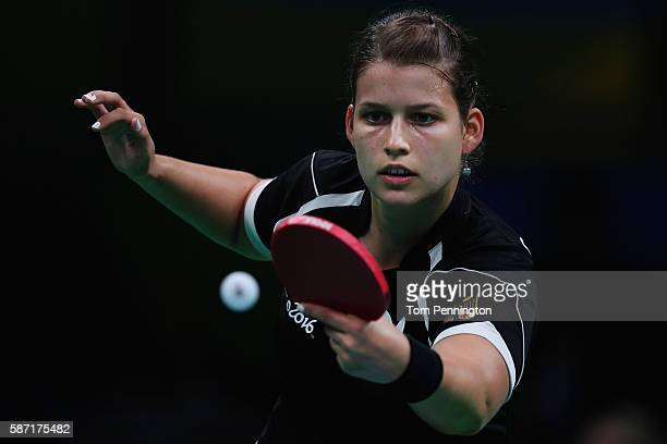 Petrissa Solja of Germany competes against Myong Sun Ri of North Korea during Round 3 of the Women's Singles Table Tennis on Day 3 of the Rio 2016...