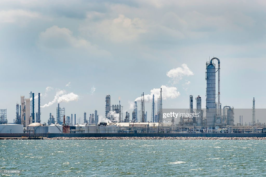 petro chemical oil processing refinery plant, Texas City industrial skyline : Stock Photo