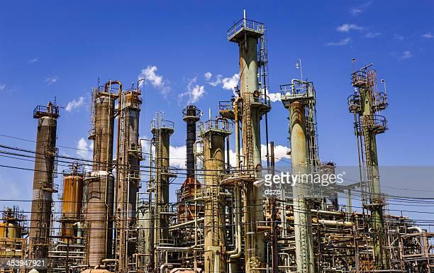 石油化学石油精製所処理、街のスカイラインテキサス州の産業