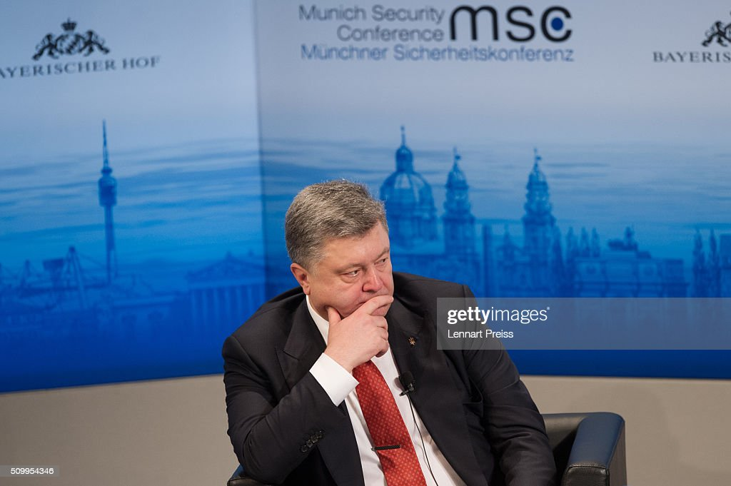 <a gi-track='captionPersonalityLinkClicked' href=/galleries/search?phrase=Petro+Poroshenko&family=editorial&specificpeople=549382 ng-click='$event.stopPropagation()'>Petro Poroshenko</a>, President of Ukraine, attends the 2016 Munich Security Conference at the Bayerischer Hof hotel on February 13, 2016 in Munich, Germany. The annual event brings together government representatives and security experts from across the globe and this year the conflict in Syria will be the main issue under discussion.