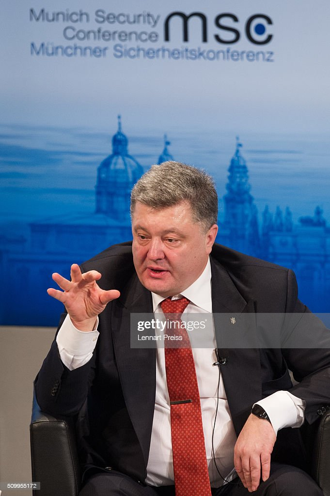 Petro Poroshenko, President of Ukraine speaks at the 2016 Munich Security Conference at the Bayerischer Hof hotel on February 13, 2016 in Munich, Germany. The annual event brings together government representatives and security experts from across the globe and this year the conflict in Syria will be the main issue under discussion.