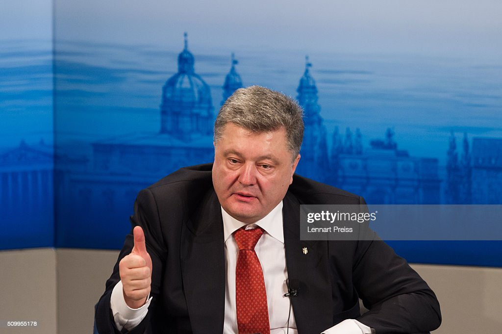 <a gi-track='captionPersonalityLinkClicked' href=/galleries/search?phrase=Petro+Poroshenko&family=editorial&specificpeople=549382 ng-click='$event.stopPropagation()'>Petro Poroshenko</a>, President of Ukraine speaks at the 2016 Munich Security Conference at the Bayerischer Hof hotel on February 13, 2016 in Munich, Germany. The annual event brings together government representatives and security experts from across the globe and this year the conflict in Syria will be the main issue under discussion.