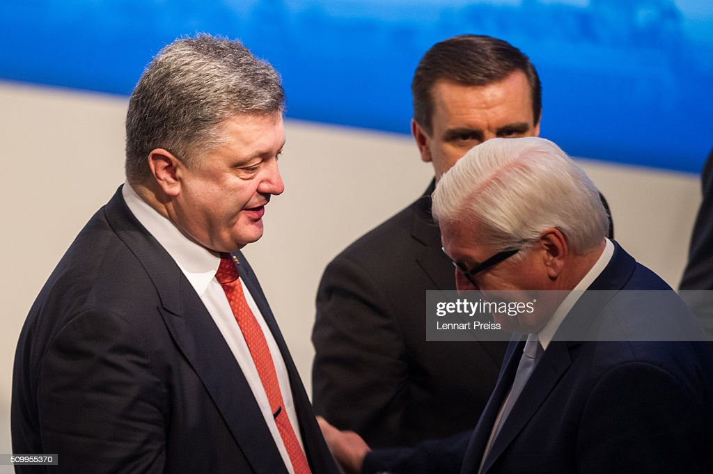<a gi-track='captionPersonalityLinkClicked' href=/galleries/search?phrase=Petro+Poroshenko&family=editorial&specificpeople=549382 ng-click='$event.stopPropagation()'>Petro Poroshenko</a>, President of Ukraine (L) talks to german Minister of Foreign Affairs <a gi-track='captionPersonalityLinkClicked' href=/galleries/search?phrase=Frank-Walter+Steinmeier&family=editorial&specificpeople=603500 ng-click='$event.stopPropagation()'>Frank-Walter Steinmeier</a> at the 2016 Munich Security Conference at the Bayerischer Hof hotel on February 13, 2016 in Munich, Germany. The annual event brings together government representatives and security experts from across the globe and this year the conflict in Syria will be the main issue under discussion.