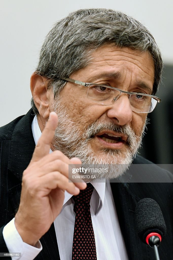 Petrobras former President Jose Sergio Gabrielli speaks during a hearing with the Parliamentary Commission of Inquiry that investigates accusations...