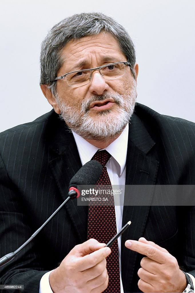 Petrobras former President Jose Sergio Gabrielli speaks during a hearing with the Parliamentary Commission of Inquiry that investigates accusations of corruption in Petrobras, in Brasilia on March 12, 2015. Dozens of politicians from five parties, including from that of Brazilian President Dilma Rousseff, have been implicated in a corrupt network which laundered $4 billion of Brazil's state oil giant money. AFP PHOTO/EVARISTO SA