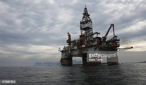 Petrobras oil platform floats in the Atlantic Ocean near Guanabara Bay on July 3 2015 in Rio de Janeiro Brazil The stateowned oil company is...