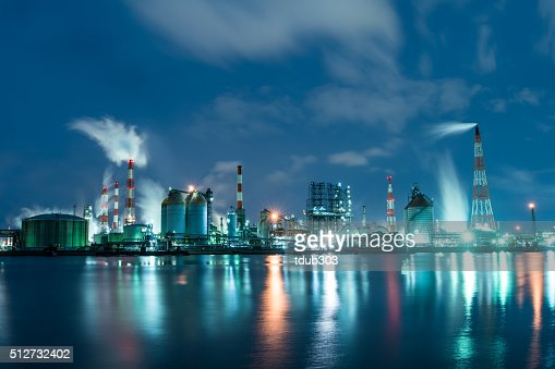 Petrochemical factory at night working 24 hours a day