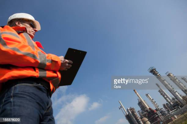 Petrochemical industry with inspector