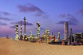 Petrochemical plant on desert.