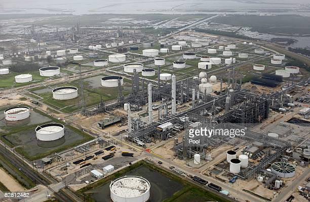 A petrochemical plant sits near the water after Hurricane Ike passed through September 14 2008 in Port Arthur Texas Floodwaters from Hurricane Ike...