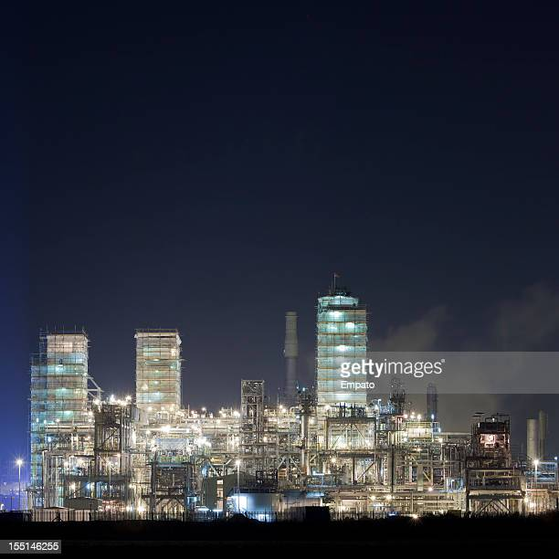 Petrochemical Plant Under Maintenance At Night.
