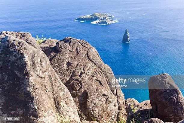 Petroglyph of birdman on Easter Island Chile