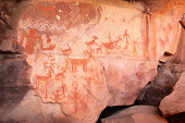 Pictograph rock art at the Palatki site in Loy Canyon, Arizona.  Most of the artwork is attributed to the Sinagua, who inhabited the area between 650AD and 1200AD, but in some cases artwork from other
