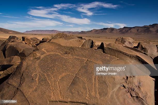 Petroglyphs on basalt rock