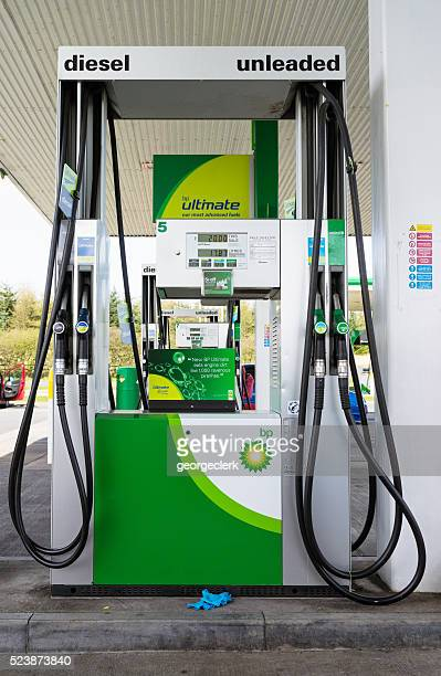BP Petrol pumps on garage forecourt