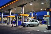 Petrol station at dusk