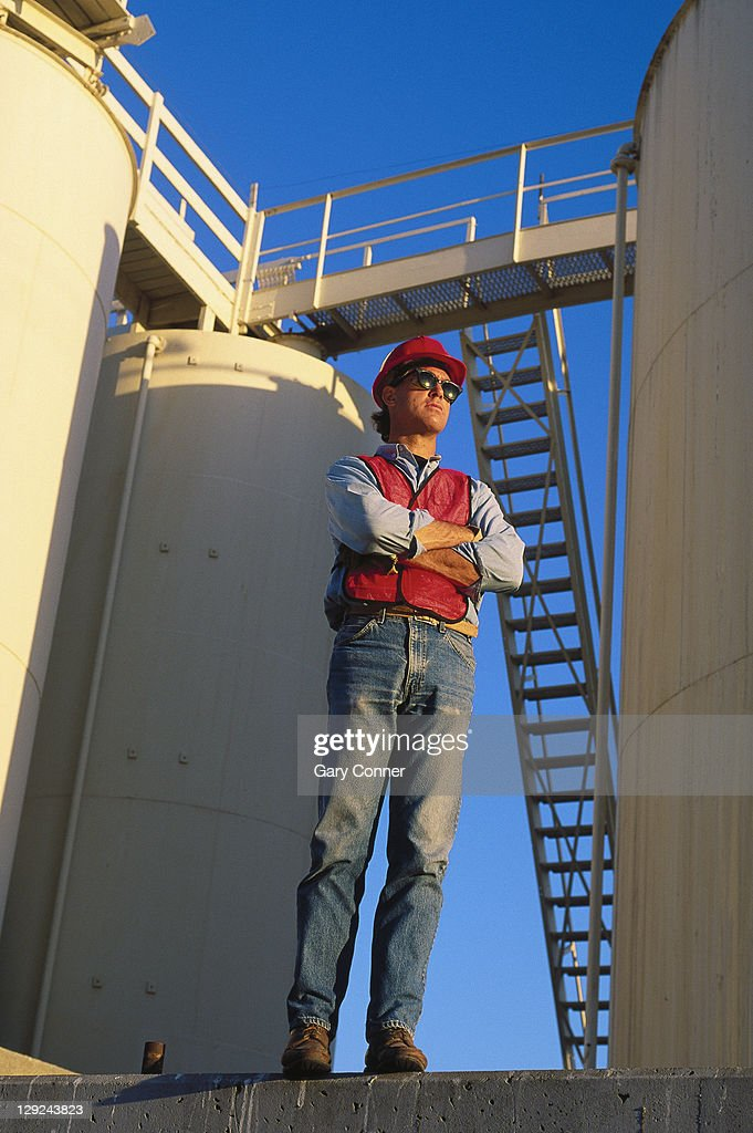 Petroleum products worker San Pedro, CA : Stock Photo