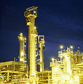Petroleum refinery, at night