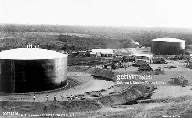 Petroleum tanks Mexico 19011910 Photograph by S Pearson Son from a series documenting civil engineering works in Mexico Shown here are two petroleum...