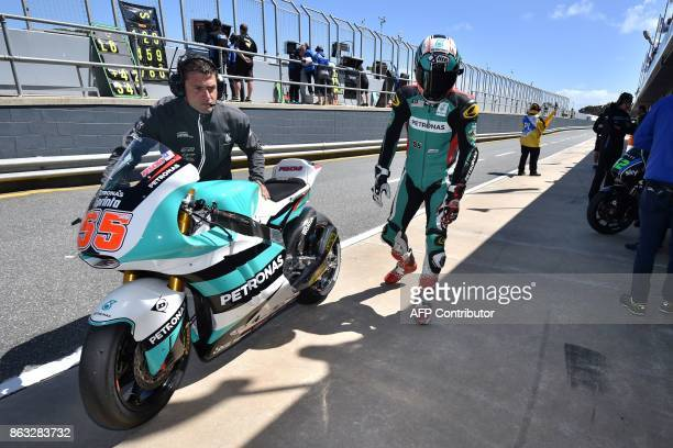 Petronas Raceline Malaysia Moto2 rider Hafizh Syahrin of Malaysia comes into the pits during the first practice session of the Australian MotoGP...