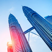 Petronas Towers at sunrise.