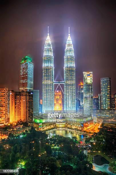 Petronas Twin Towers and KLCC Park at night