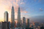 Petronas Twin Towers at sunset, Kuala Lumpur