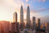 Petronas Twin Towers at sunset