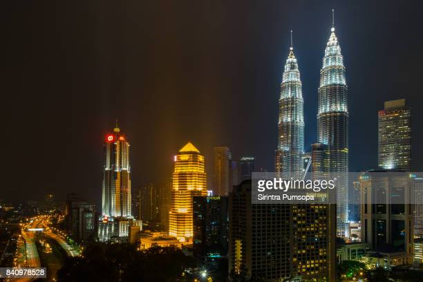 Petronas Twin Towers light show display at night, Kuala Lumpur, Malaysia