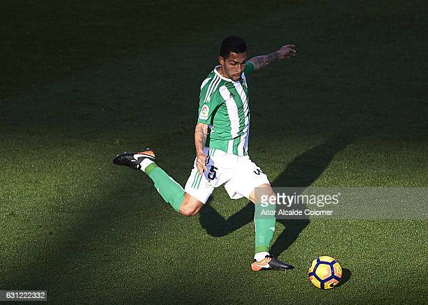 SEVILLE SPAIN JANUARY 08 Petros Matheus dos Santos of Real Betis Balompie in action during La Liga match between Real Betis Balompie v CD Leganes at...