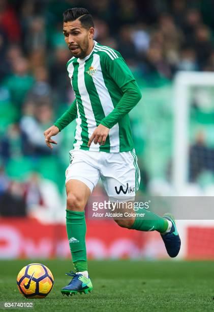 Petros Matheus dos Santos of Real Betis Balompie in action during La Liga match between Real Betis Balompie and Valencia CF at Benito Villamarin...