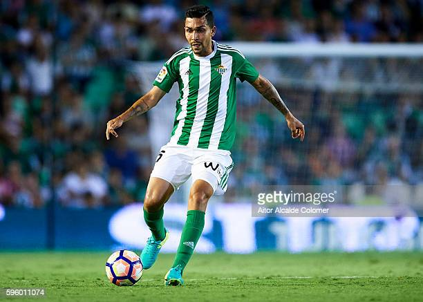 Petros Matheus dos Santos of Real Betis Balompie in action during the match between Real Betis Balompie v RC Deportivo La Coruna as part of La Liga...