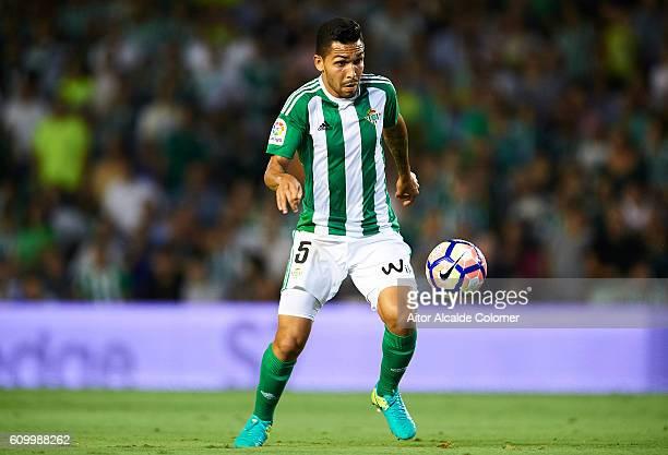 Petros Matheus dos Santos of Real Betis Balompie in action during the match between Real Betis Balompie vs Malaga CF as part of La Liga at Benito...