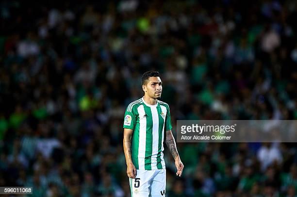 Petros Matheus dos Santos of Real Betis Balompie looks on during the match between Real Betis Balompie v RC Deportivo La Coruna as part of La Liga at...