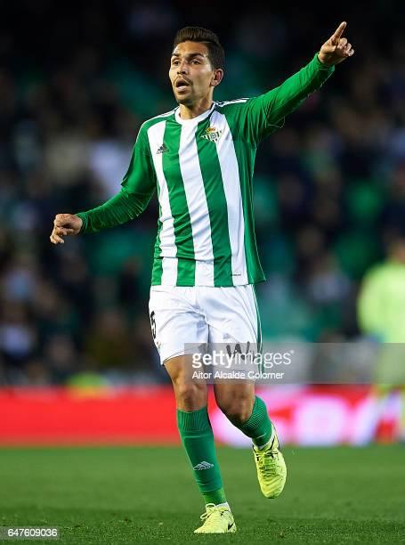 Petros Matheus dos Santos of Real Betis Balompie react during La Liga match between Real Betis Balompie and Real Sociedad de Futbol at Benito...