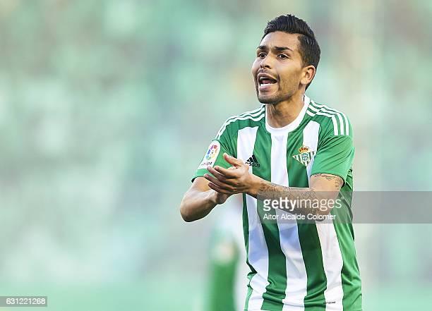 Petros Matheus dos Santos of Real Betis Balompie reacts during La Liga match between Real Betis Balompie v CD Leganes at Benito Villamarin Stadium on...