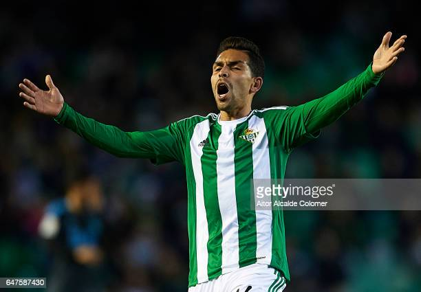 Petros Matheus dos Santos of Real Betis Balompie reacts during La Liga match between Real Betis Balompie and Real Sociedad de Futbol at Benito...
